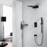 304SUS pluie chute d'eau de douche robinet Set de douche panneau de douche colonne murale double poignée mitigeur thermostatique 3 Fonction
