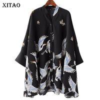 Xitao grúa de gasa de la vendimia blusas de las mujeres de impresión de moda coreana Harajuku media manga del collar del soporte para mujer Tops Kzh270 Y19062501