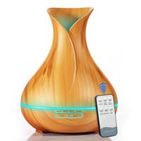 Najlepsza sprzedaż 400ml Aroma Essential Oil Dyfuzor Ultradźwiękowy Nawilżacz powietrza z drewna 7 Kolor Zmiana świateł LED do biura do domu