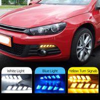 2pcs DRL para Volkswagen Scirocco 2011 2012 2013 2014 2015 LED de luz diurna con convertir la señal de color amarillo