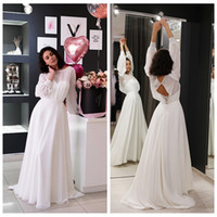 Simple Chiffon Wedding Dress with Long Sleeves Robe de Marie...