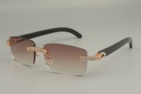 2019 Lüks Beyaz Çift Sıra Elmas Gözlük, Doğal Siyah / Karışık / Beyaz / Çeşitli Renkler Horn Güneş Gözlüğü 352412-B, Boyutu: 56-18-140mm