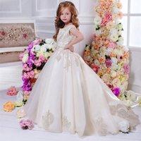4-14 Yıl Güzel Çiçek Dantel Çiçek Kız Elbise Kızlar Pageant Balığa Uzun Tren Güzel Küçük Çocuklar Örgün Parti Giyim