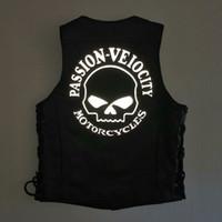 Vintage siyah motosiklet hakiki deri yelek ceketler Yansıtıcı gece punk tarzı V Yaka yelek ile tek göğüslü