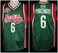 Kristaps Porzingis # 6 Sevilla Baloncesto Euro Letónia Retro Basquete Jersey Mens Costume Número Personalizado Nome Nome Jerseys