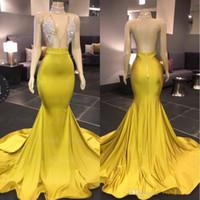 2020 Sarı V Boyun Kolsuz Mermaid Gelinlik Modelleri Sweep Tren Boncuklu Rhinestones Saten Örgün Parti Afrika Backless Abiye Elbise