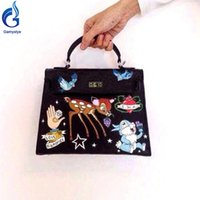 Hand- Painting Hand Drawing Cut love designer handbags high q...