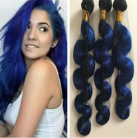 Ombre Blue Human Hair Weaves Blue Dark Roots Negro y azul Body Wave 3 paquetes Oferta