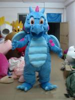 2019 Yüksek kalite Gerçek Resimler Deluxe Mavi Ejderha maskot kostüm