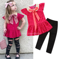 Girls Boutique Outfit Toddler top rossi + pantaloni neri 2 pezzi Set Girl Spring Summer Clothing Set per 1-6T