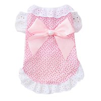 Cute Floral Puppy Dog Cat Lace Patchwork Princess Dress Bowk...