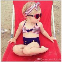 Moda 2017 Yeni Bebek Kız Bikini Mayo Sevimli Kız Üç Adet Mayo Çocuklar Bantlar Ile Çizgili Düğmeler Mayo