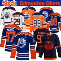 Edmonton Oilers Jersey 97 Connor McDavid 29 Leon Draisaitl 99 Wayne Gretzky 93 Ryan Nugent Hopkins 2019-2020 Üçüncü Hokey Formaları
