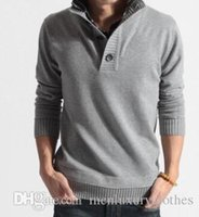 Mens Autumn Winter Fake 2pcs Sweaters Shirt Collar Knitted F...