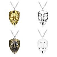 MOQ: 10 PCS Palhaço V Para Vendetta Pingente de Colar Anônimo GUY Mask Máscara De Metal V Moda Jóias Fob Para Homens Crianças Presente de natal