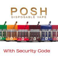 된 1.8 mL 카트리지 씨 증기 대 (400) 빈 Vaping 펜 혐의 보안 코드 280mAh와 POSH 플러스 일회용 Vape