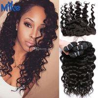 MikeHair 13x4 Spitze Frontal mit 3 Bündeln Tiefkörperwelle Menschliches Haar mit frontalem peruanischen malaysischen brasilianischen Haar mit Spitze Frontalverschluss
