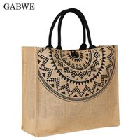 GABWE Women High Quality Linen  Tote Large Capacity Female Casual Shoulder Bag Lady Daily Handbag Fresh Beach Shopping Bag