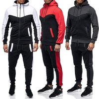 Two Pieces Sets Mens Casual Slim Fit Sportswear Sweat Shirts Clothing Designer Men Tracksuits Zipper Hoodies Pants