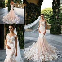 Milla Nova 2019 Vintage Champagne sirène robes de mariée Sheer cou manches en dentelle Cap Illusion Backless Appliques Robes de mariée Robes de mariée