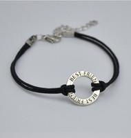 GX108 Горячий продавать простой старинное посеребренное круглое кольцо мотаться подвески черный воск шнур браслеты письмо ЛУЧШИЙ ДРУГ для дружбы