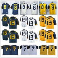 Batı Virginia Dağcılar Koleji 7 Will Grier Jersey 8 Karl Joseph 13 David Sills V 13 Resul Douglas Sarı Mavi Beyaz Futbol Formalar