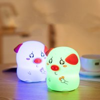 USB Rechargable Silicone Mini Veilleuse Creative Pig Animal Cartoon Enfants Lampe LED Enfant Belle Mignon Portable Lampe Colorée