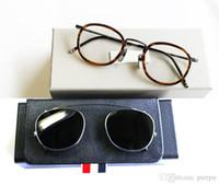New York Runde Lesebrillenfassungen oder Sonnenbrillen Männer Frauen mit Kasten Optical Titanium Brillen TB710 Sonne Glas mit Clip