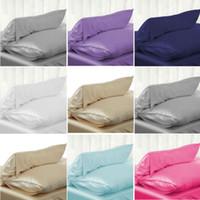 Funda de almohada nuevo sólido Standard Queen satén de seda ropa de cama almohada Smooth Inicio