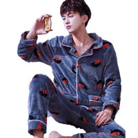 Men Pajama Set Long Sleeve Long Pants Pyjamas Suits Winter T...