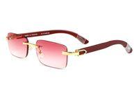 mens occhiali da sole in legno di moda naturali Sport senza montatura occhiali da sole occhiali da struttura in metallo corno di bufalo nero lenti rosa Óculos oro argento
