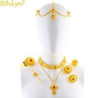 Ethlyn Jóias New Gold Color Luxo Etíope Eritreia Strass Cruz Pingente de Casamento Gargantilha Conjuntos de Jóias Presentes Habesha S205 C18122701