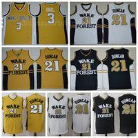 Basket-ball Tim Duncan de la NCAA College Jersey 21 Deaons diable Demon Forest Chris Paul Jersey 3 Université Jaune Noir Blanc Couleur