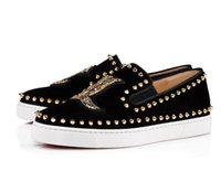 Red Bottom Pik Boat Sneaker Mocassini slip-on sneaker in velluto nero Spiked Shoes Flat Pave Flat Suede con scarpe nere, Men Wedding Party Busine