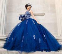 Luxuosos cristais frisados lace quinceanera vestidos de tripulação backless real azul tulle bola vestido de noite doce 16 baile vestido q68