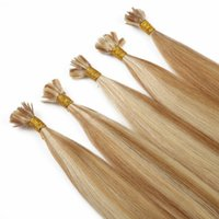 Ponta plana de alta qualidade / I Tip / Nail Tip Extensões de cabelo humano Piano Color 27/60 1g / fio 100 fios / set Remy Extensões de cabelo humano