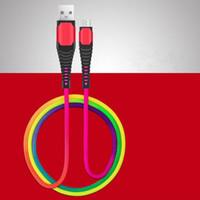 Type C Micro USB-kabel 1m 3ft Duurzaam 2A Snelle opladen Rainbow Alloy USB-kabels voor Samsung S8 S9 S10 Opmerking 8 9 HTC LG