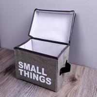 Falten Kleidung Aufbewahrungsbox Körbe Tragbare Faltbare Brief Drucken Baumwolle Leinen Aufbewahrungstasche Spielzeug Snack Ablagekorb Große DH0801-2