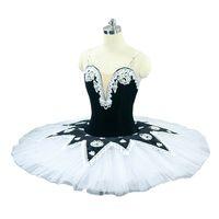 Mädchen Pancake Ballett Tutu Professionelle weiße schwarze Ballett Tutus Praxis-Probe-Platter-Ballettkleid