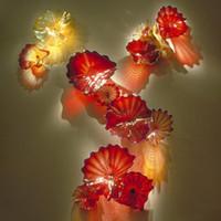 Üfşi lambalar çiçek plaka duvar dekor için kırmızı amber renkli Murano cam asılı plakalar sanat otel antika ışıklar
