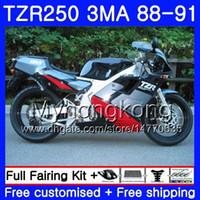 바디 용 YAMAHA TZR250RR RS RR YPVS TZR250 88 89 90 91 244HM.22 TZR-250 TZR250 3MA 블랙 실버 핫 TZR 250 1988 1989 1990 1991 페어링 키트