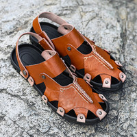 Top Quality Mens Sandals Genuine Leather Brown Black Tan Cow...