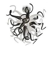 Рождественский орнамент выдувная стеклянная люстра черно-белый мини-столовая мелко стекло ремесло небольшой кристалл