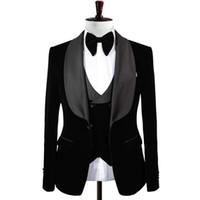 Настоящее фото черный бархатный жених смокинги мужские выпускные вечеринки деловые костюмы пальто жилет комплект брюк (куртка + брюки + жилет + галстук-бабочка) K204