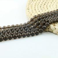 Smoky Quartz Bead 15 pouce brin par ensemble lâche pierre gemme ronde en gros pour la fabrication de bijoux bricolage