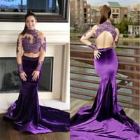 2019 Two Pieces Purple Prom Dresses High Neck Beaded Lace To...