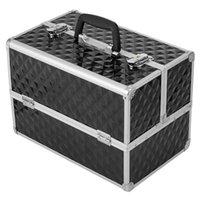 메이크업 케이스 화장품 가방 케이스 전문 휴대용 알루미늄 화장품 스토리지 박스와 잠금 및 접이식 트레이 블랙