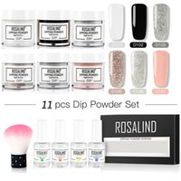 11pcs / Lot ROSALIND Dip Set poudre Nails Holographic Glitter Nail Art Décorations Manucure naturel sec Nail Design Sans lampe Cure