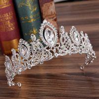 Роскошные серебряные кристаллы свадебные коронки Bridal Tiaras Diamond ювелирные изделия горный хрусталь наушковые науки Дешевые аксессуары для волос Четыре цвета Pageant Tiara