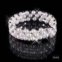 15013 Стразы Ювелирные изделия жемчуга браслеты свадебные свадебные аксессуары из серебристые 3 ряда